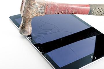 Hammer on broken iPad cracked glass screen