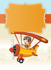 Card with a cartoon pilot boy on a airplane flying over green hill