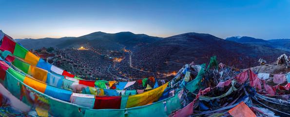 Panorama top view at Larung gar (Buddhist Academy) in Sichuan, China