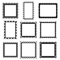 Set of ornate black picture frames isolated on white,frame illustration,picture frame designs vector illustration on white isolated background