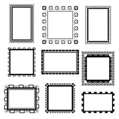 Set of ornate black picture frames isolated on white,frame illustration,picture frame designs vector illustration on white isolated background