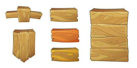 Vector 2d wooden ui elements