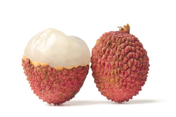 Lychee or litchi (tropical fruit) on white background