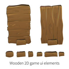 Vector 2d wooden ui elements