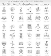 Vector Startup and development ultra modern outline line icons for web and apps.