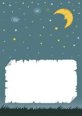 Night sky with crescent moon and stars. Silhouette of grass,and ripped paper. Cartoon hand drawn illustration.