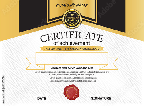 certificate gold black certificate template vector certificate illustration design eps illustrator 10