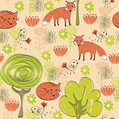 Vector background with foxes. Seamless pattern can be used for wallpapers, pattern fills, web page backgrounds,surface textures