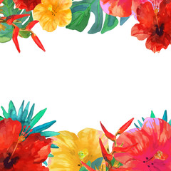 Greeting card, invitation, banner. Frame for your text with tropical flowers.