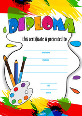 vector pattern childrens diploma for delivery on a creative contest in kindergarten or school. diploma of childrens paint brushes and palette for artists. Vector colorful background