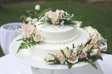 White wedding cake for the wedding ceremony.