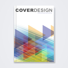 Cover template, brochure template layout, book cover, annual report, flyer, magazine cover or booklet for corporate business concept with colorful geometric and thin line, vector illustration