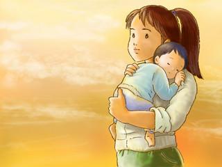 子を抱く女性、夕方