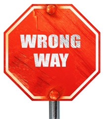 wrong way, 3D rendering, a red stop sign