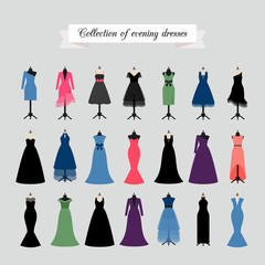 Evening Dresses. Vector party dress or fashion dresses in different styles