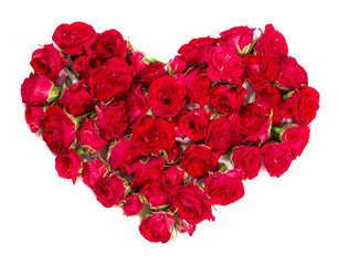 Bouquet of roses arranged to form a heart or design element for floral themes.