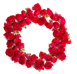 Bouquet of roses arranged to form a ring or design element for floral themes.