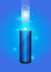 Electric battery energy, illustration, blue Light Abstract Techn