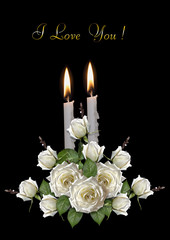 Greeting card with burning candles and white roses on a black background