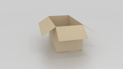 Empty brown cardboard box opened, ready to wrap things in it on
