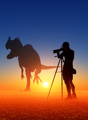 Photographer and dinosaur