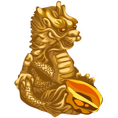 Figure of Golden dragon with an offering