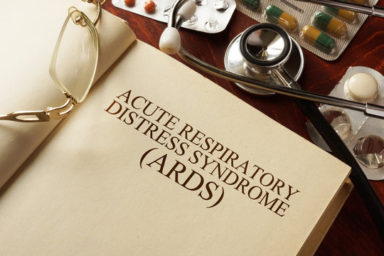 Book with diagnosis Acute respiratory distress syndrome (ARDS). Medic concept.