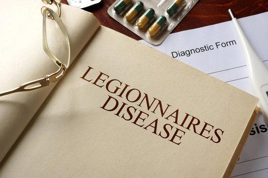 Book with diagnosis legionnaires disease. Medic concept.