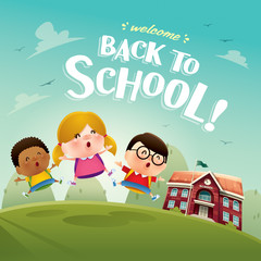 Welcome back to school! Cute school kids.