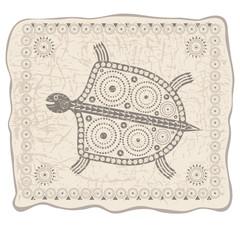 Иллюстрация со стилизованным изображением черепахи в племенном стиле на фоне текстуры кожи.