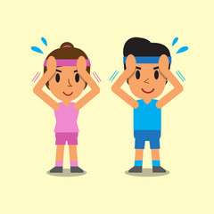 Cartoon man and woman doing isometric neck flexion exercise