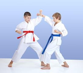 Paired exercise karate are training two boys