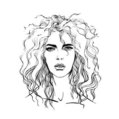 Vector fashion girl portrait. Female face with curly hair. Hand drawn engraved fashion girl portrait illustration.