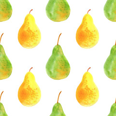 Seamless pattern with pears .Food picture.Watercolor hand drawn illustration.