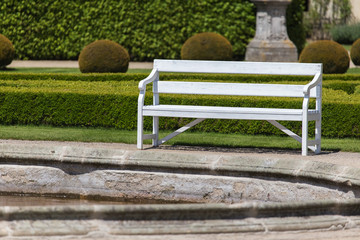 White wooden bench in park on sunny day