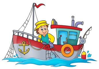 Fishing boat theme image 1