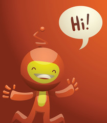 Vector cartoon image of funny little orange creature. Funny little creature with a long antenna on his head. Creature with two arms and legs. Funny creature jumping and smiling on an orange background