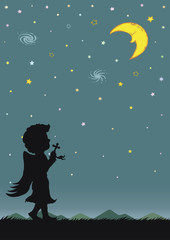 Night sky with crescent moon and stars. Silhouette of angle praying at night.