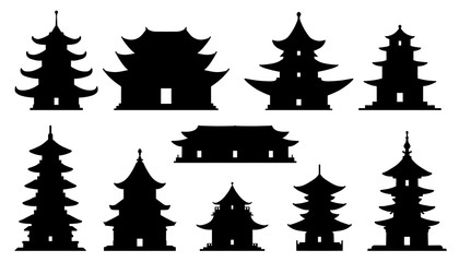 asian temple silhouettes