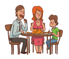 Vector cartoon image of a family dinner. Father, mother and son sitting at the table and eat fried chicken on a white background. Family idyll. Card. Vector illustration.