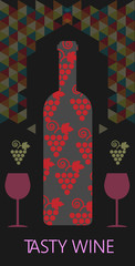 Wine tasting card, bottle with red grape sign, over black background with colored pattern. Digital vector image.