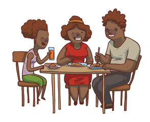 Vector cartoon image of a family dinner. Black father, mother and daughter sitting at the table and eat food on a white background. Family idyll. Card. Vector illustration.
