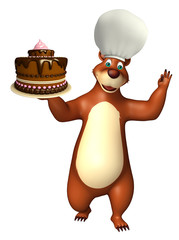 cute Bear cartoon character with cake
