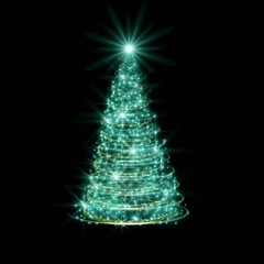 Glowing background with green abstract Christmas tree