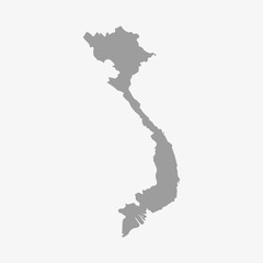 Vietnam map in gray on a white background