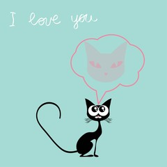 Valentines day card cat and bird vector illustration