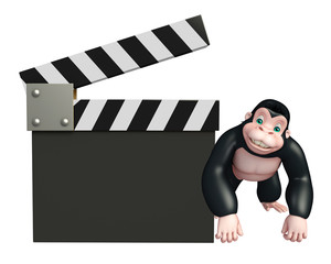 Gorilla cartoon character with clapper board