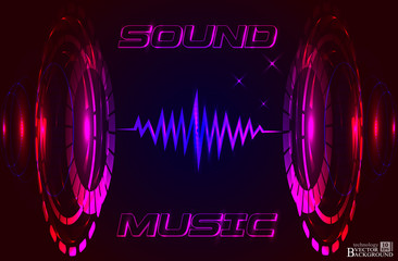 Abstract music background, technology color background, futurist
