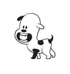 Vector cartoon image of a funny little dog black-white colors with a ball in his mouth on a white background. Made in monochrome style. Positive character. Vector illustration.