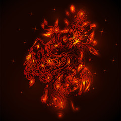 The bird Phoenix in flames abstract background. Vector